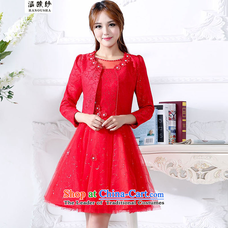 The OSCE yarn red brides covered by the 2015 autumn new dresses two kits dresses marriage back to door onto bows services betrothal small red dress?XL