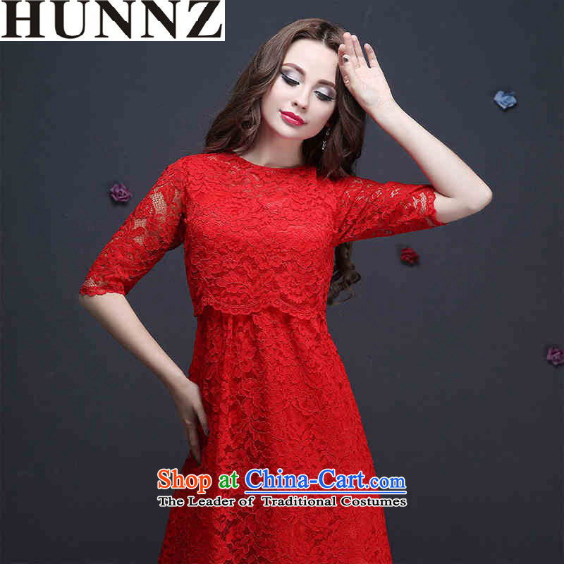The new 2015 HUNNZ spring and summer red bride wedding dress banquet evening dresses bows to sepia RED?M