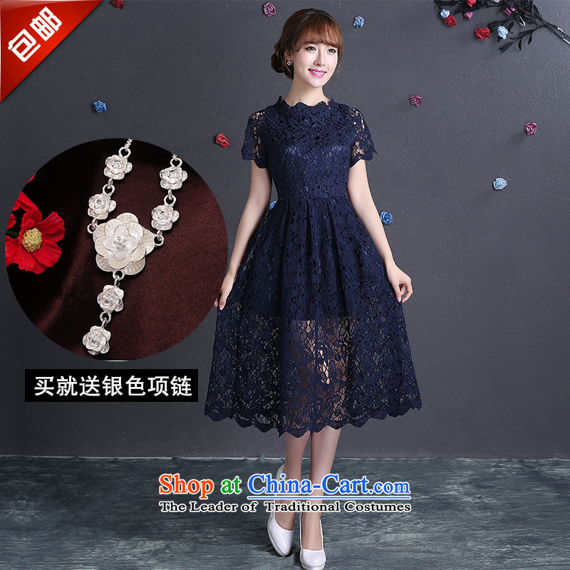 In 2015, long, HUNNZ bridal dresses banquet evening dresses sweet, bows to dress dark blue?L