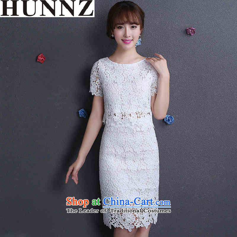 Toasting champagne served by 2015 HUNNZ engraving lace new spring and summer white bride wedding dress evening dress White?M