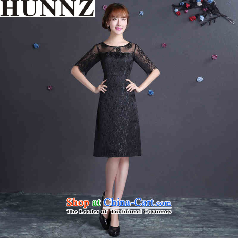 ?   ?Toasting champagne HUNNZ Services 2015 Spring/Summer new Korean fashion bride wedding dress banquet evening dresses black?M
