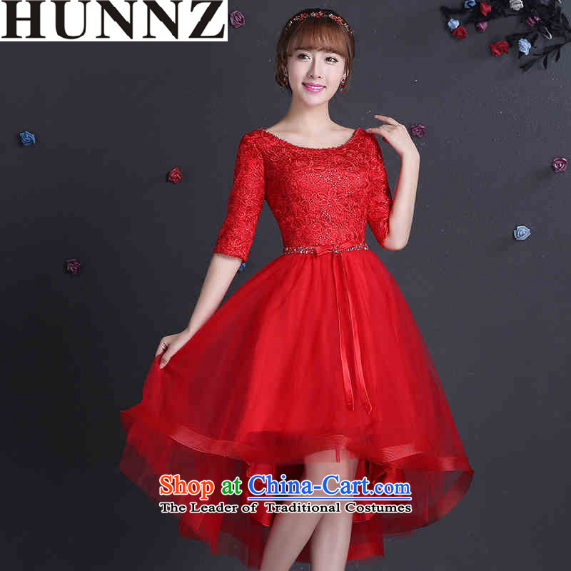 2015 Long dresses HUNNZ Anointed One field of chest shoulder bride wedding dress banquet service red?XXL toasting champagne