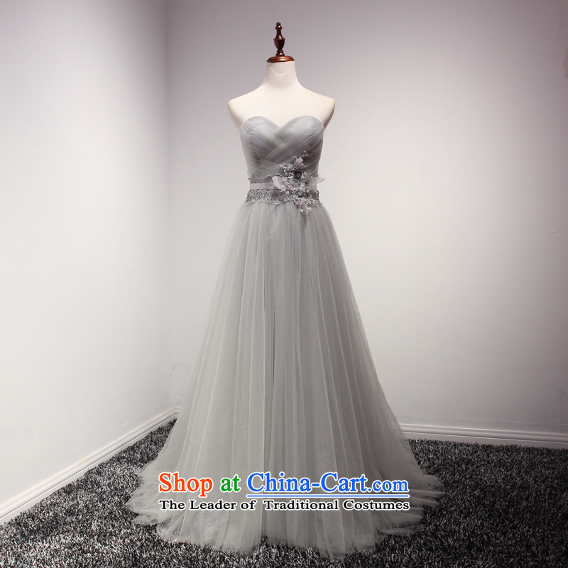 Time Syrian wedding dresses bride bows services new autumn 2015 Ms. Mary Magdalene Chest Smoke Gray banquet evening dress long will Smoke Gray�XL