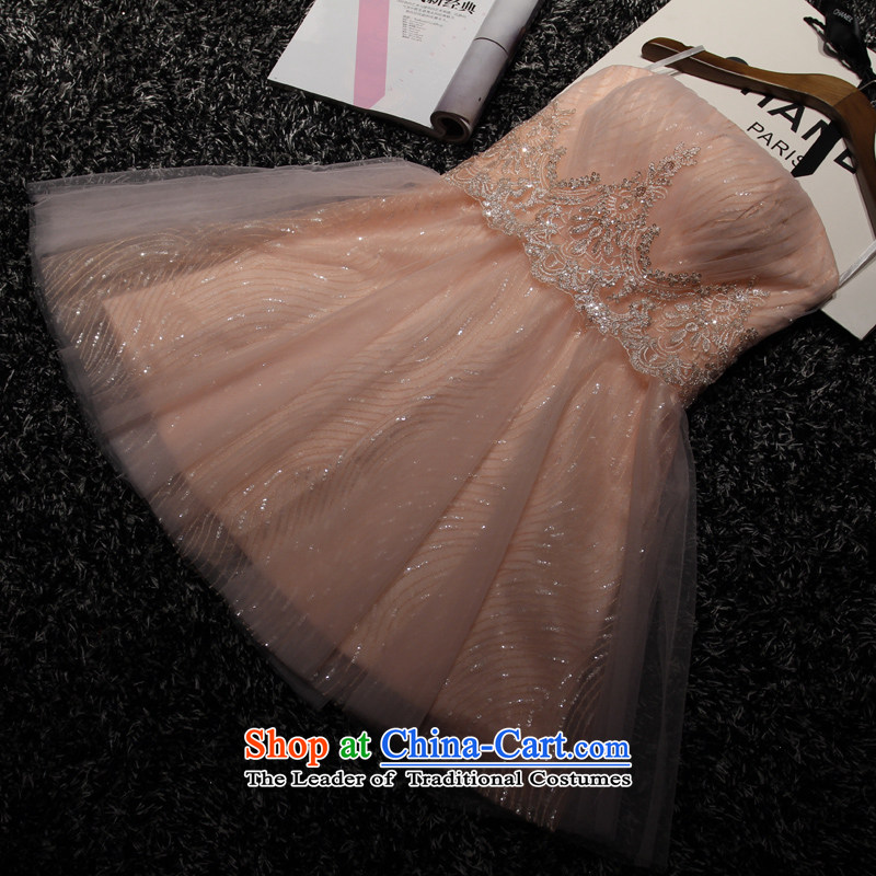 The wedding-dress short of 2015 New marriages bows services fall shoulders bridesmaid dress skirt evening dress banquet orange?M