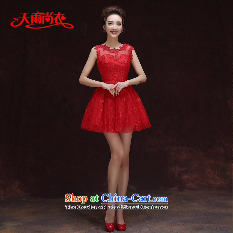 Rain-sang Yi marriages 2015 new short, Wedding Dress red sleeveless sexy and meat dresses bridesmaid small dress LF196 RED?XL