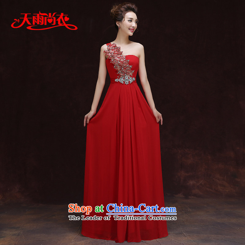 Rain-sang yi�2015 new sweet bride wedding dresses moderators click shoulder length, elegant red marriage toasting champagne video thin LF179 services large red�XL