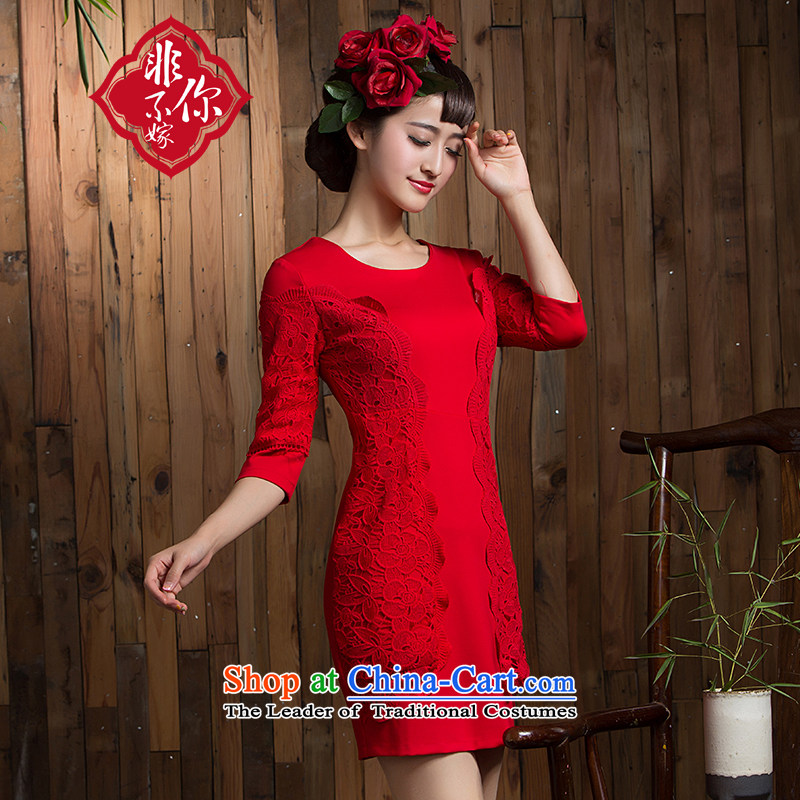 Non-you do not marry in the autumn of 2015, the bride stylish wedding dress in red sleeved toasting champagne Sau San services marriage cheongsam dress back door onto Red XXL