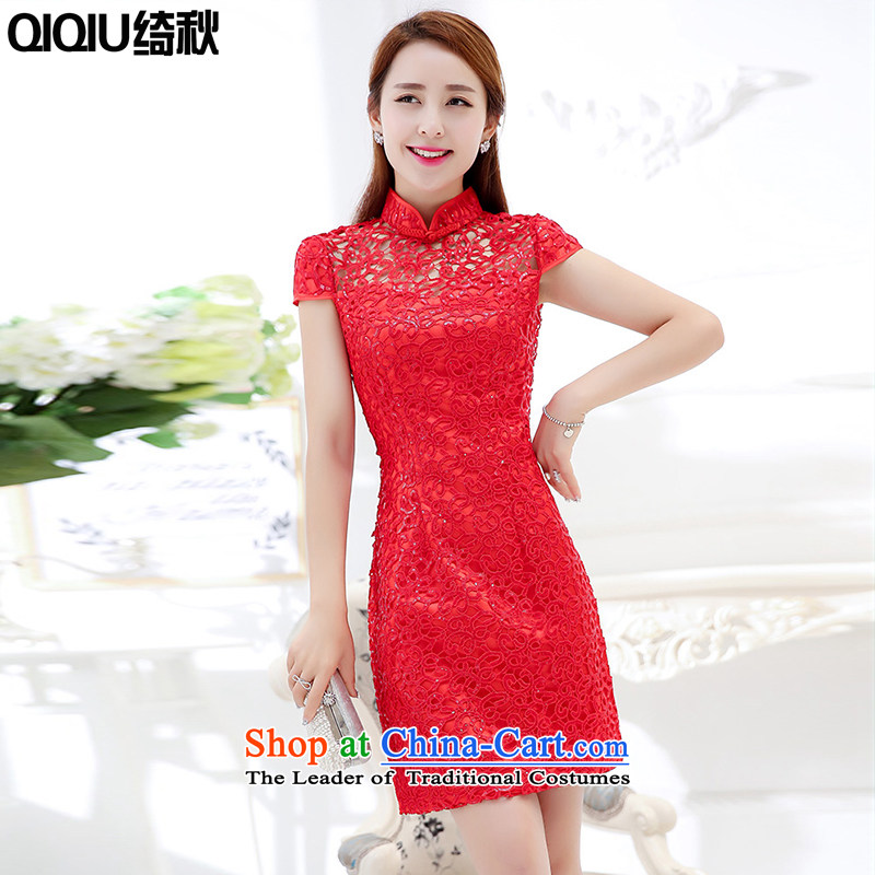 As autumn evening dresses female new 2015 lace short sleeve in long gown skirt video thin qipao festive red bows to a marriage bridesmaids will wedding�XXXL red
