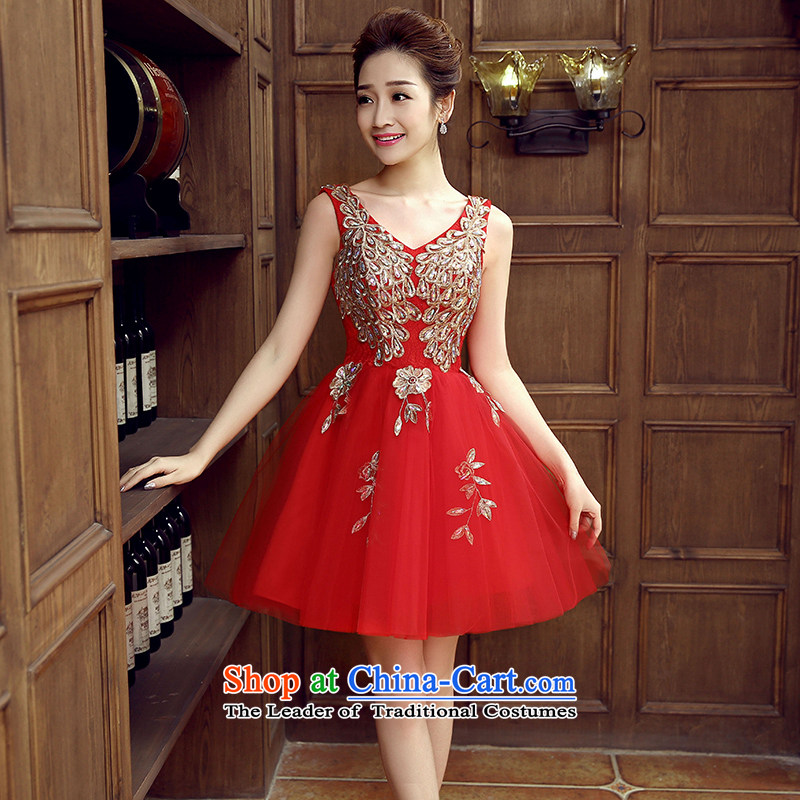Non-you do not marry�2015 Autumn bride with a stylish wedding dress service, Sau San bows evening dresses pure color V-Neck short-sleeve marriage dresses red�L