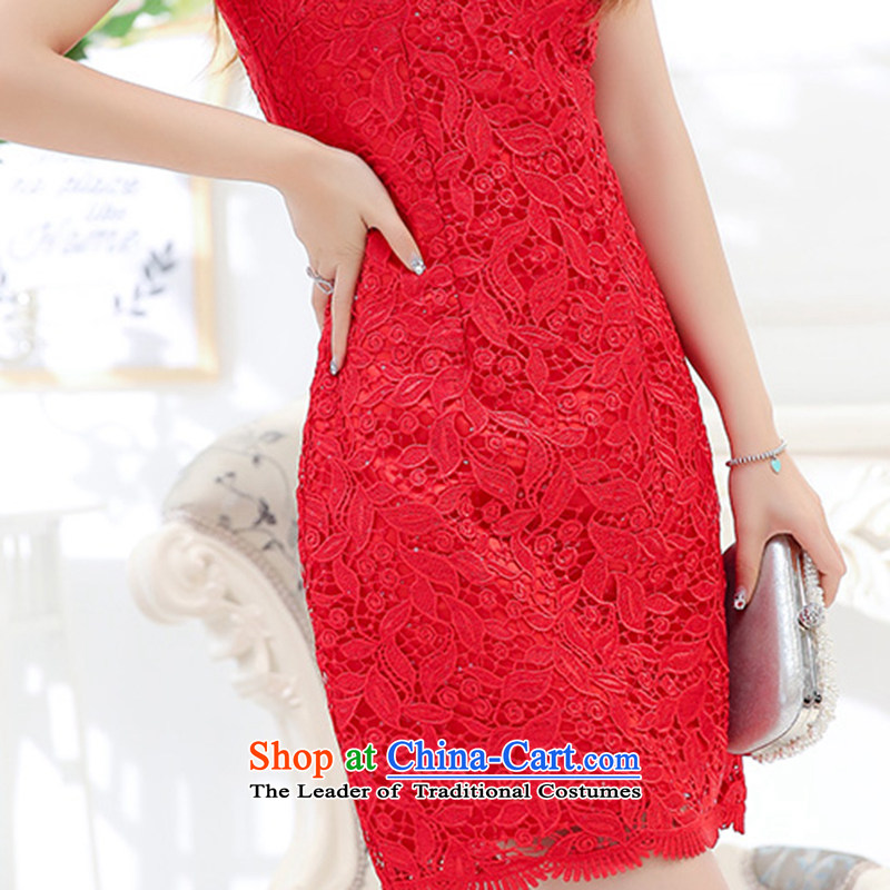 As autumn 2015 New Female dress cheongsam wedding lace in long short-sleeved dresses festive red bows services bridesmaid services willcross-chu, Red XXL, QIQIU) , , , shopping on the Internet