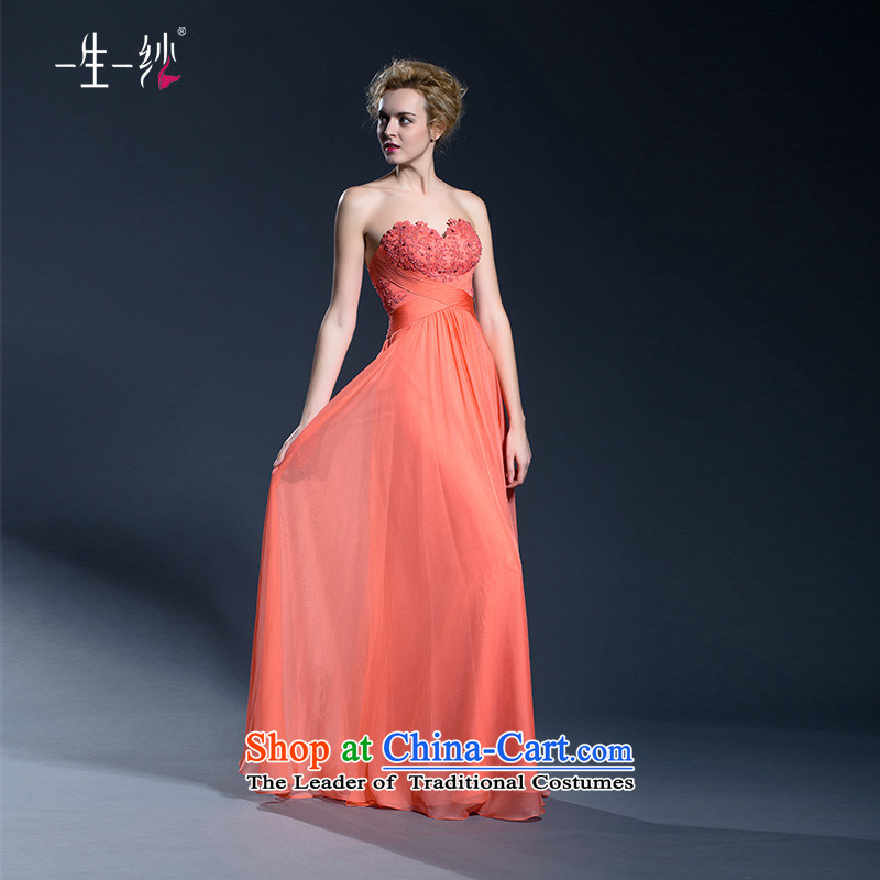 Long gown banquet?autumn 2015 wedding dresses moderator anointed chest female will?402401332?orange colored?155/80A thirtieth day pre-sale