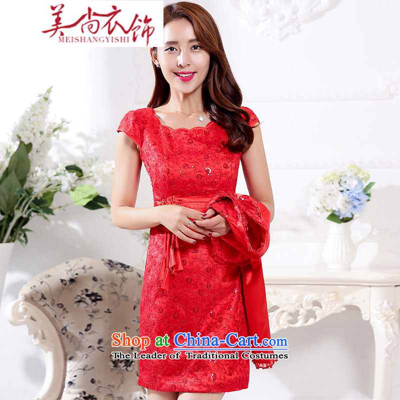 The United States is still clothing�2015 Autumn marriages long-sleeved clothing to door bows services bridesmaid Sau San banquet dress dresses red two kits red�XXL