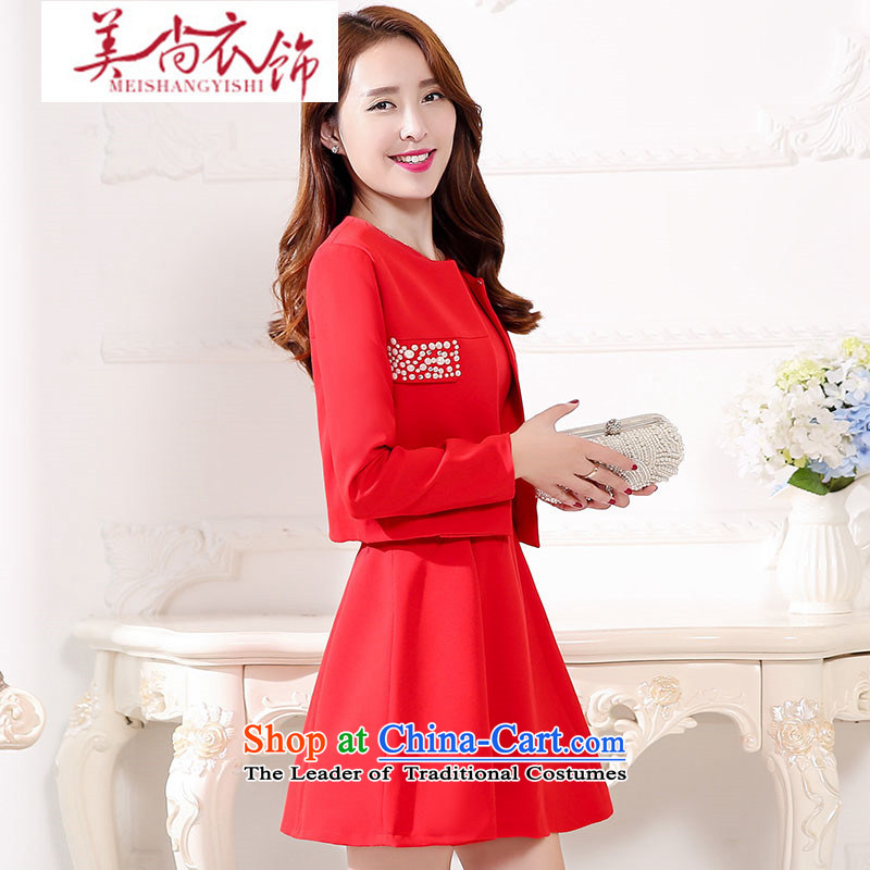 The United States is still clothing?spring and autumn 2015 new bride wedding dress bows services back to door Red Dress Short of Sau San evening dresses women and two piece red?XXL