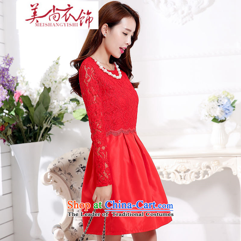 The United States is still clothing red dress with new long-sleeved autumn A bride services back drink skirt door onto Princess skirt Female dress Sau San?XXXL red