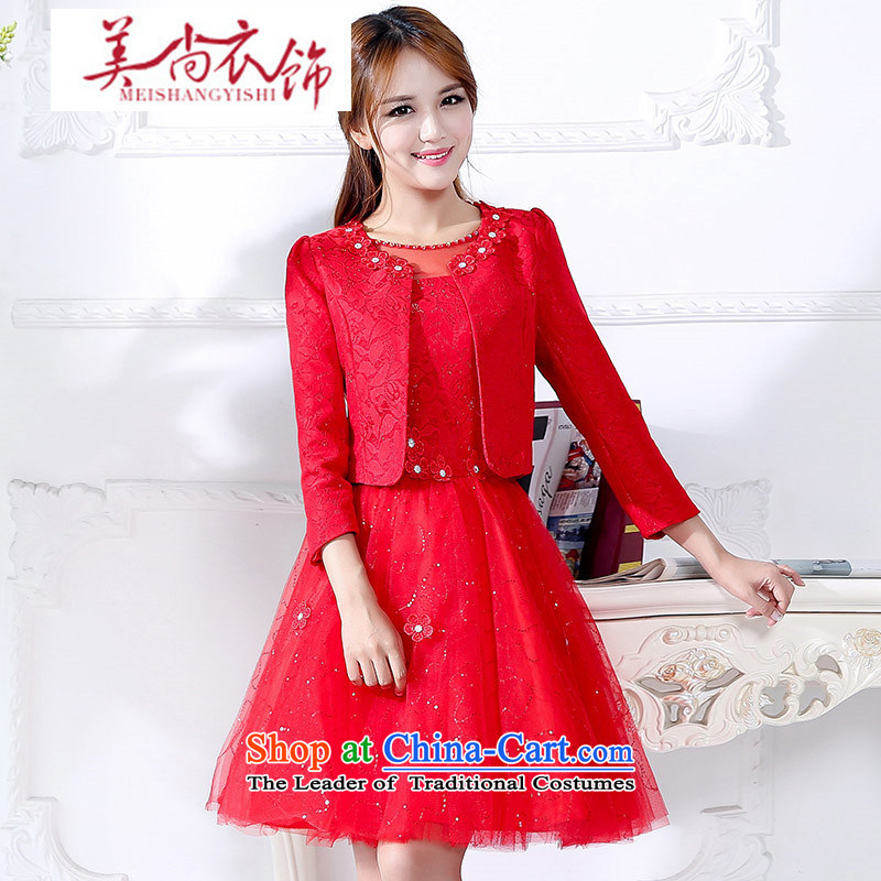 The United States is still clothing and accessories kit two stylish bride red door onto the bows to Korean Female dress autumn small jacket betrothal clothes RED?M