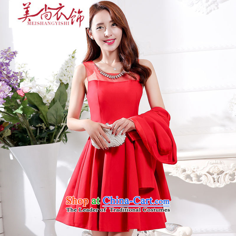 The United States is still? 2015 autumn and winter clothing new bride serving evening dresses high toasting champagne waist pregnant women dresses wedding dress back door clothes RED?M