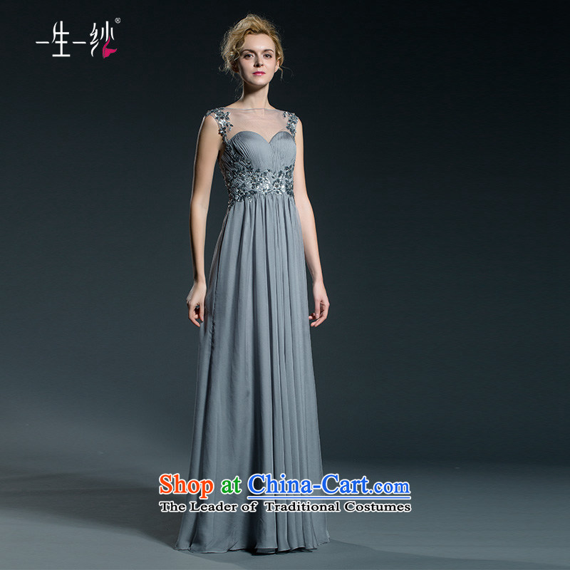 A lifetime of banquet evening dresses long large shoulders autumn?2015 new high-rise gray?155/82A 402401333 serving drink 30 day pre-sale