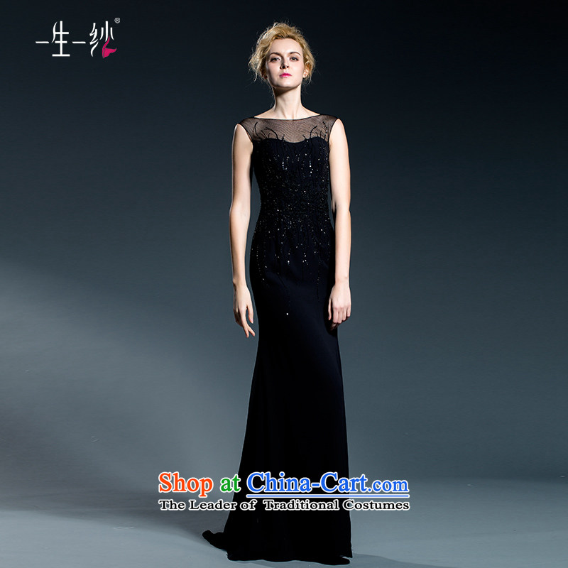 A lifetime of evening dresses long banquet style black woman fall reception of Sau San shoulders long gown 402501363?175/96A black thirtieth day pre-sale