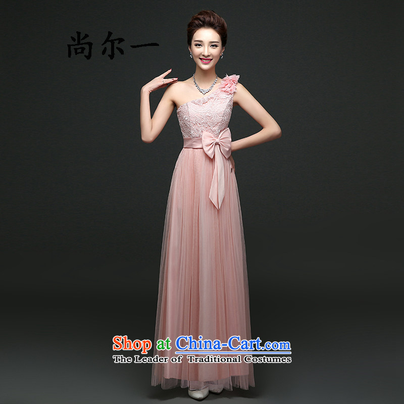 Yet, a new tie long bridesmaid sister skirt Sau San performance service banquet dinner dress code 91102 pink are