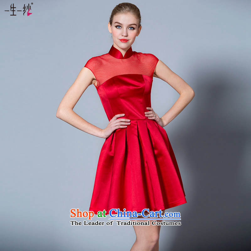 A lifetime of 2015 the new bride short high-lumbar bows to Chinese collar red packets shoulder improved qipao�40121020�red�160/84A thirtieth day pre-sale