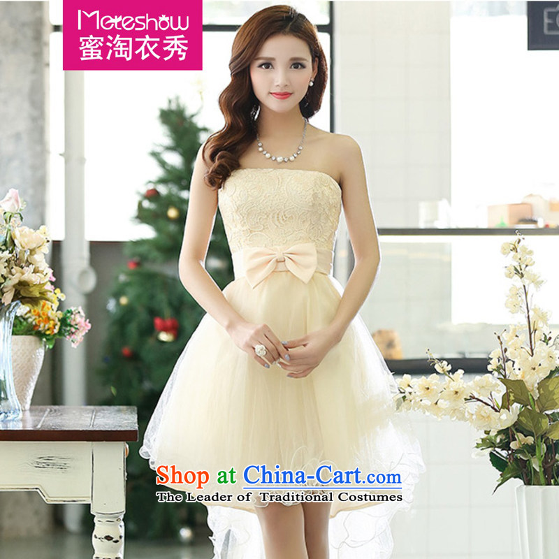 Sau Yi moteshow Amoy honey short of 2015 bon bon skirt evening dress bride wedding dresses and Chest Service bridesmaid dresses bows unworthy shawl m White?L