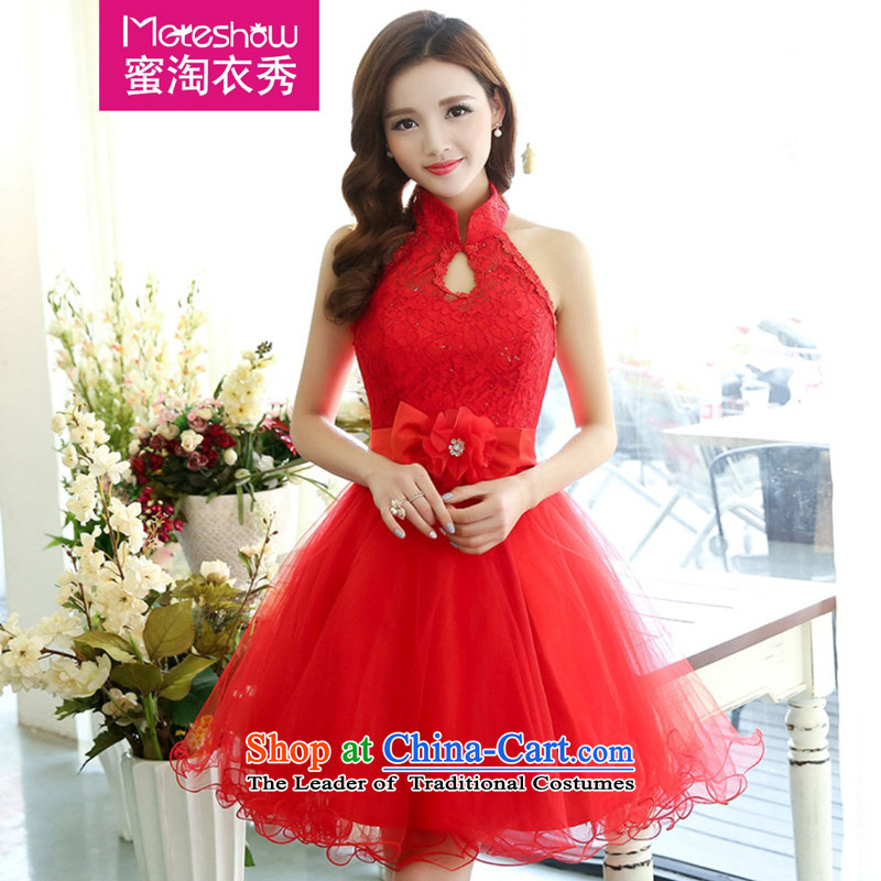 Honey-yi at Amoy?spring and summer 2015 installed new women's mount also back princess bon bon skirt gauze small dress dresses banquet Stage Costume RED?M