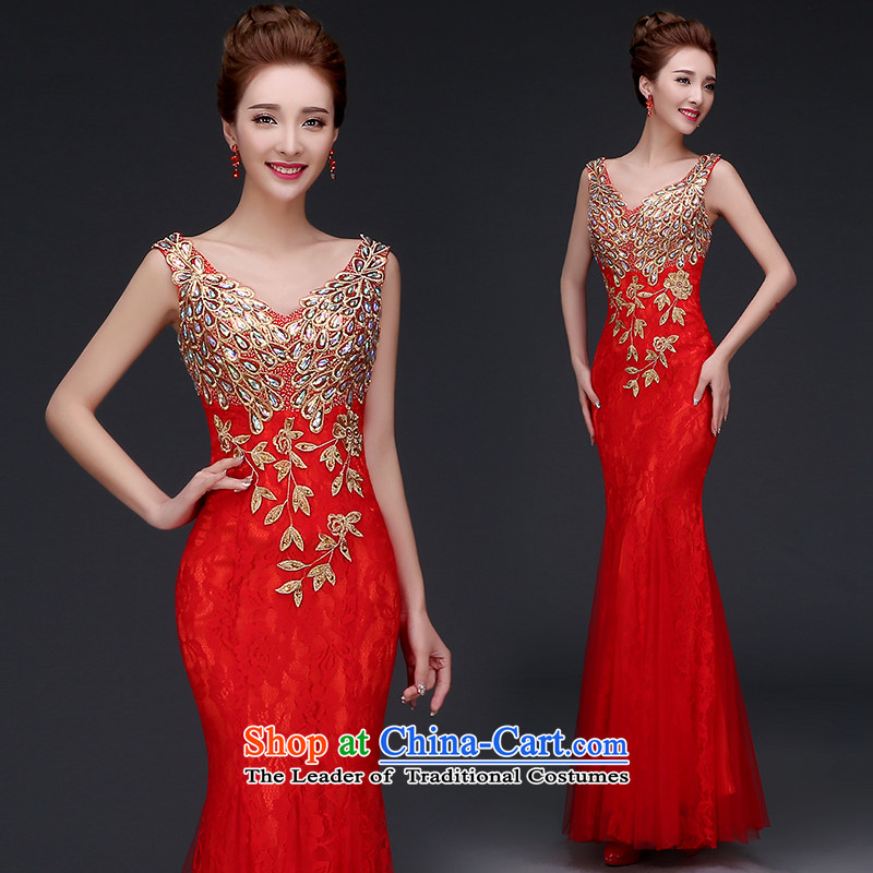 2015 new bride bows services fall wedding dress the betrothal of girls Red Dress Sau San crowsfoot banquet wedding dresses Sau San bridesmaid female red XXL