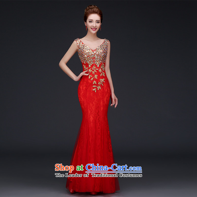 2015 new bride bows services fall wedding dress the betrothal of girls Red Dress Sau San crowsfoot banquet wedding dresses Sau San bridesmaid female red XXL, time Syrian shopping on the Internet has been pressed.