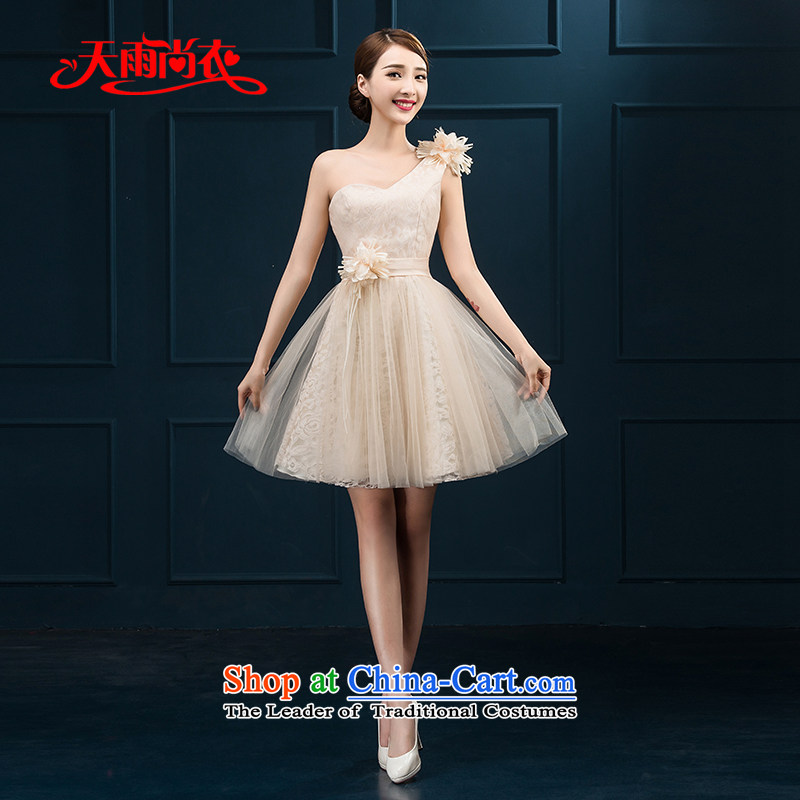 Rain Coat 2015 Autumn yet new marriages yarn bridesmaid dresses shoulder short, thin dinner will be smaller video dress LF222 champagne color?XXL