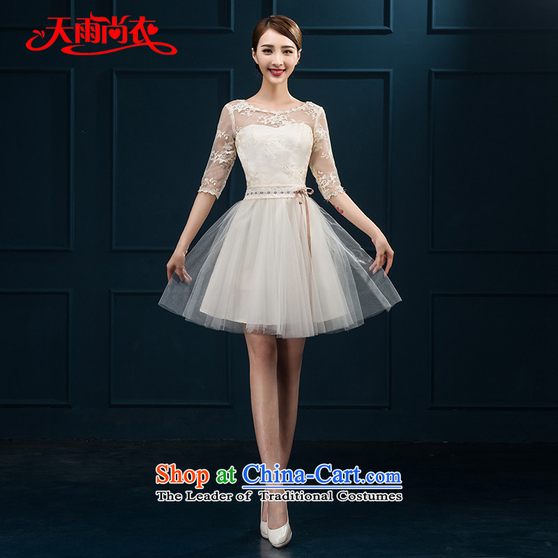 Rain Coat?2015 Autumn yet new marriages of short of major code graphics in Sau San dinner thin cuff lace bridesmaid small dress LF221 champagne color?XXL