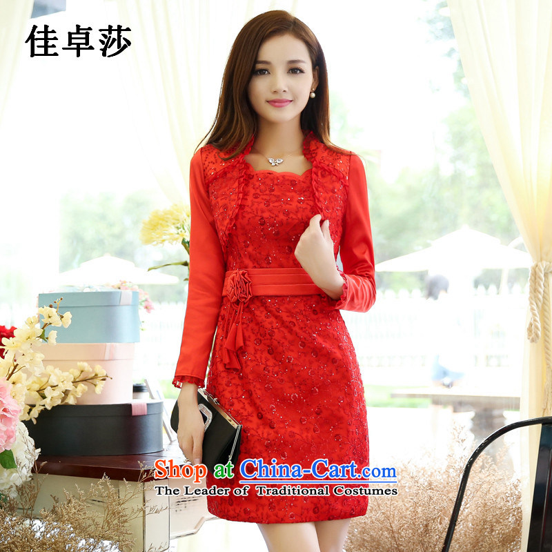 Better Cheuk-yan sha spring and autumn 2015 two kits for larger graphics port temperament package and coltish, forming the elegant dresses red dress red�L