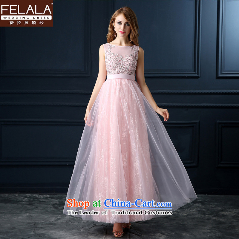 Ferrara wedding dress the summer and autumn of 2015 the new bride wedding dress shoulders length) red dress uniform dress drink red, pink long�S