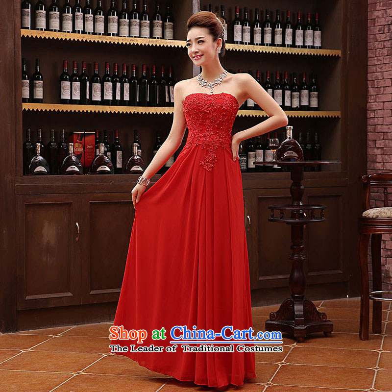 Non-you do not marry 2105 Autumn Red Dress wiping the chest and stylish bride bows service long sweet flowers Sau San evening dresses wedding dress dresses red?L