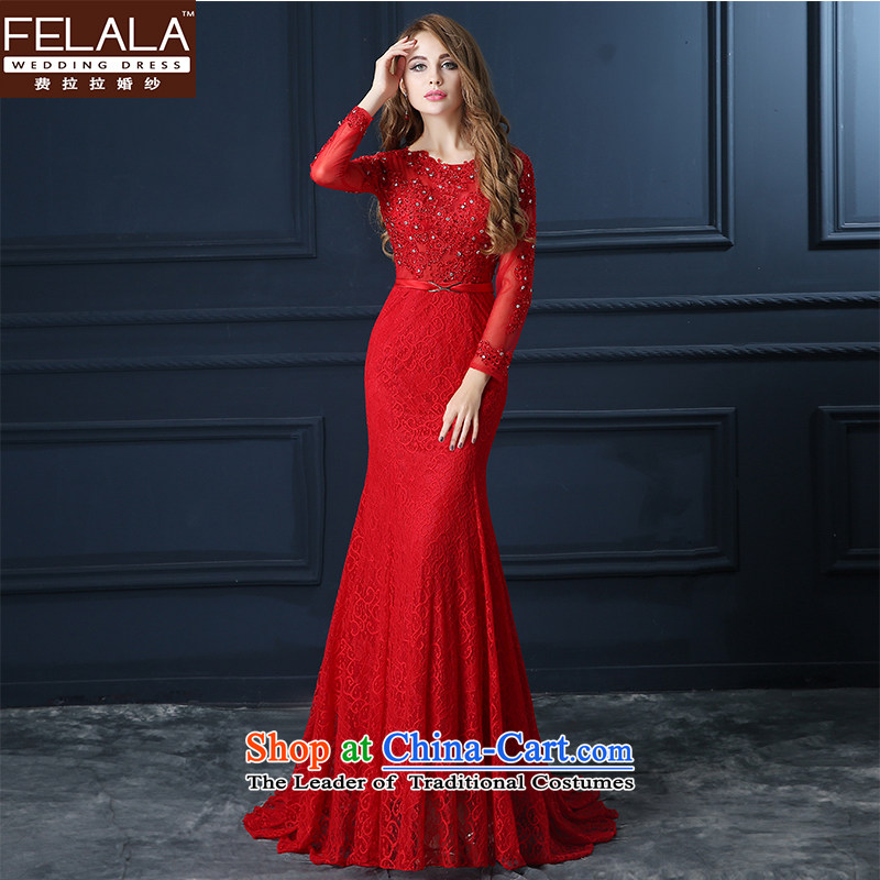 Ferrara?2015 bride wedding dress bows to red word crowsfoot shoulder straps evening dresses long female banquet autumn the new?S