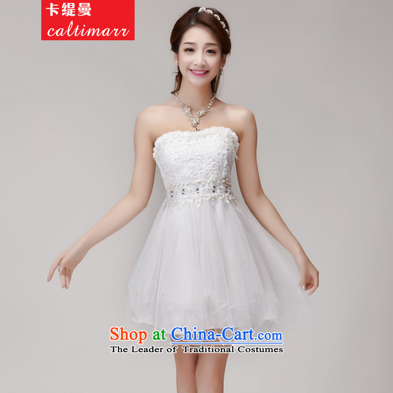 Card economy Cayman�  2015 manually staple pearl diamond temperament and Sau San chest dresses bridesmaid groups dress skirt� 8FFM�White�M