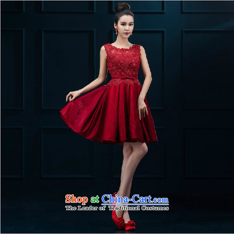 Pure Love bamboo yarn 2015 new word shoulder red lace bride stylish wedding dress SHORT SLEEVES) bows serving women banquet deep red�XL