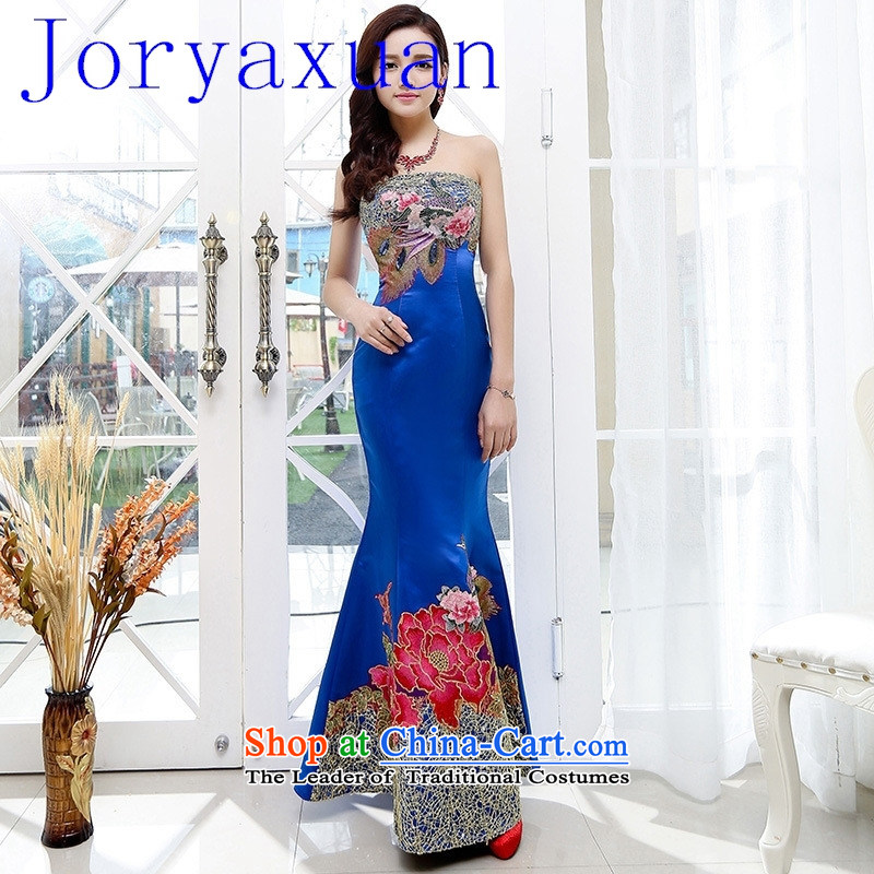 2015 new sexy evening dresses Sau San crowsfoot dress long Stylish retro long gown blue聽XL
