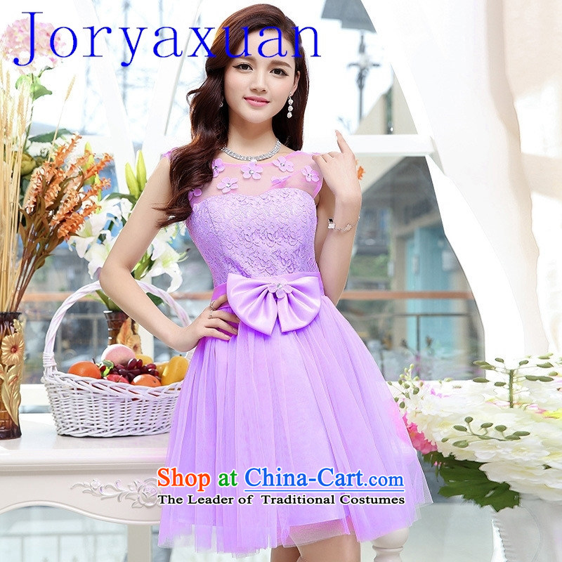 New stylish marriages bows Sau San small dress short skirts, bon bon purple L
