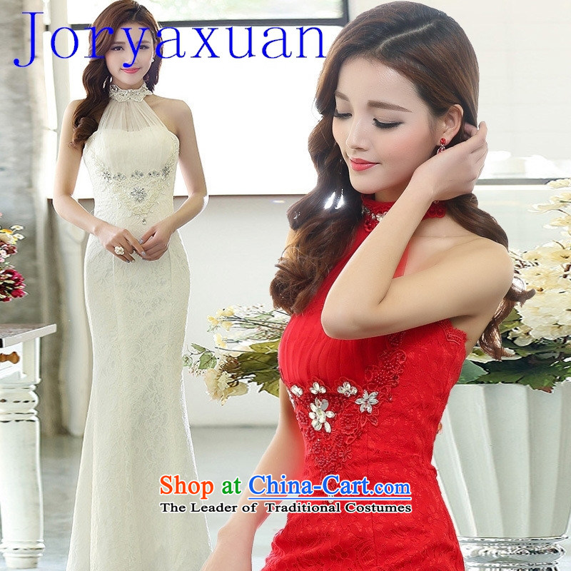 2015 new marriage yarn evening dresses wedding services bridesmaid bride toasting champagne evening under the auspices of Sau San Long White M