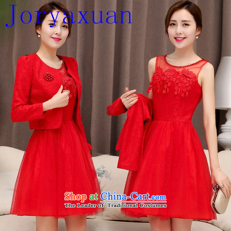 2015 Autumn The new bride with red two kits dresses Sau San temperament dresses dress two kits red聽XXL