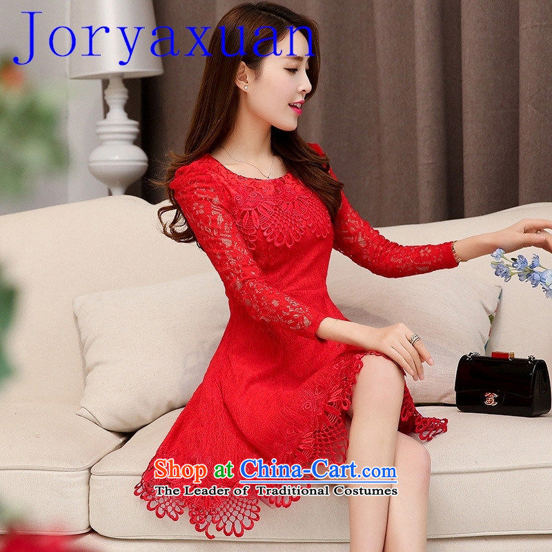 2015 new marriages red engraving long-sleeved gown toasting champagne evening will serve banquet dress RED?M
