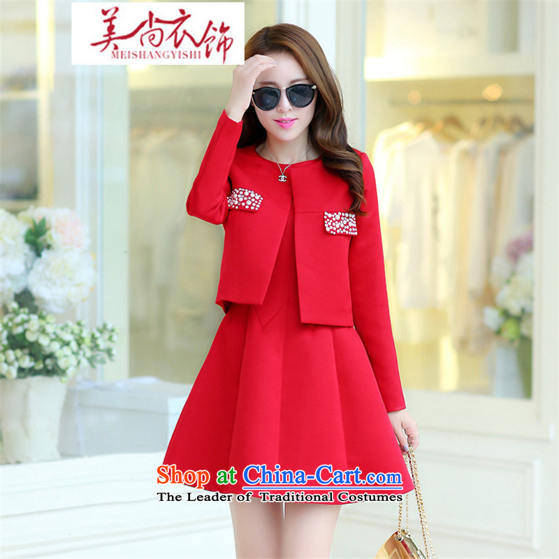 The United States is the new 2015 clothing of autumn and winter marriages booking wedding dress red dress bows services back to the door of winter clothing skirt RED M