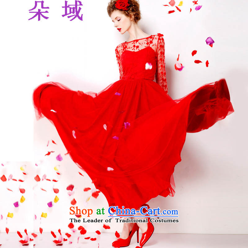 The autumn 2015 domain is the new big red embroidered dress lace red petticoat bride 9 m large long skirt dress N905C7072 RED?M
