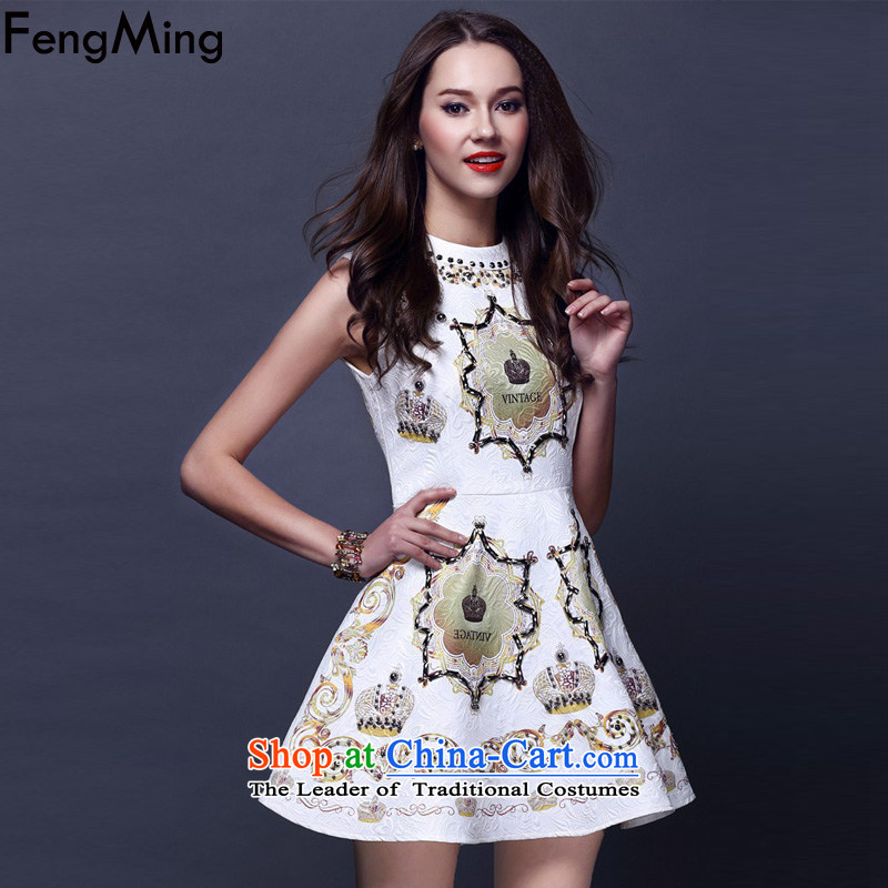 Hsbc Holdings Plc?2015 Autumn Ming skirt the new western retro stamp heavy industry staples bead Foutune of Large Jacquard vest dress skirt White?M