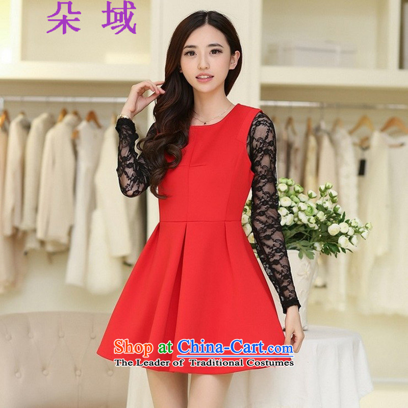 Load the autumn 2015 Flower Domain Western women new space cotton red bride replacing bon bon apron skirt T601C1267 RED?L