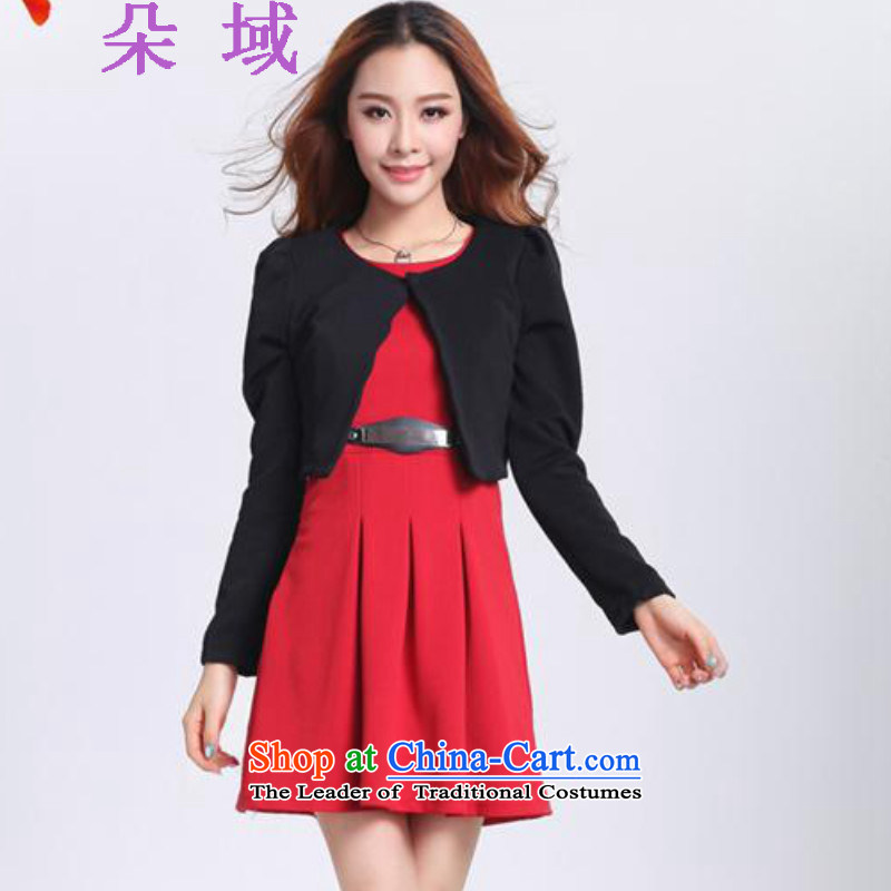 Load the autumn 2015 domain and the new Korean two kits of Sau San sweet long-sleeved dresses marriages bows services back door dress black jacket red skirts 8033?XL
