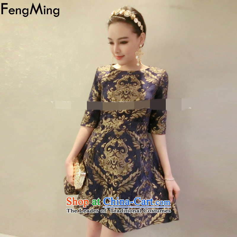 Hsbc Holdings Plc 2015 European site autumn Ming skirt the new gold embroidery in heavy industry, forming the Cuff Color Picture skirt dress M
