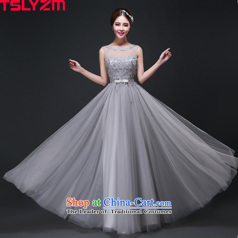Tslyzm moderator dress 2015 autumn and winter new banquet evening dresses round-neck collar double shoulder length of roka butterfly madame service flowers Smoke Gray?XXL
