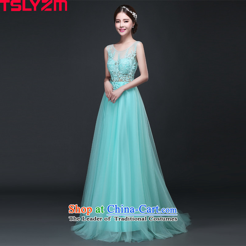 Tslyzm evening dresses long dresses Korean female banquet show will fall and winter 2015 new shoulders round-neck collar back lace small trailing Lake Blue�M