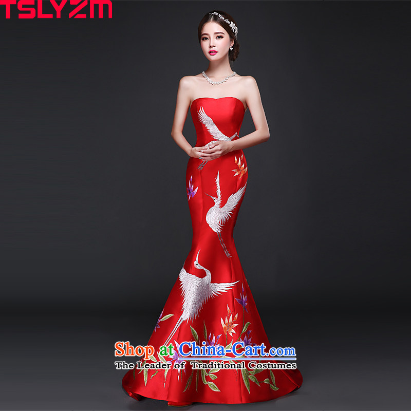 Jacob Chan bridal dresses bows dress moderator 2015 new autumn and winter wiping the chest small trailing Sau San video thin embroidery cheongsam dress red?XXL